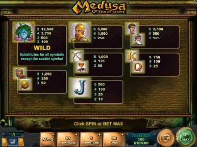 Secret Slots featuring the Video Slots Medusa - Queen of Stone with a maximum payout of $12,500