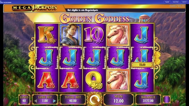 Cheeky Riches featuring the Video Slots Mega Jackpots Golden Goddess with a maximum payout of $25,000,000