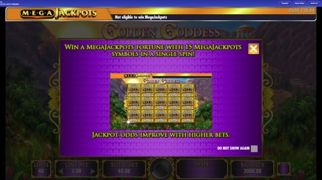 Caesars featuring the Video Slots Mega Jackpots Golden Goddess with a maximum payout of $25,000,000