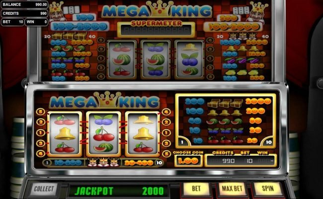 Box24 featuring the Video Slots Mega King with a maximum payout of $10,000