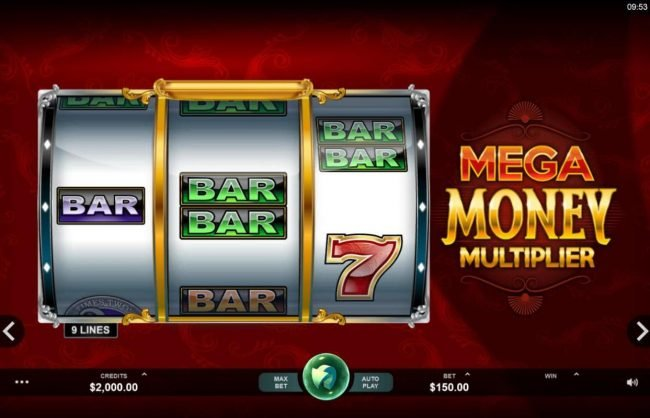 River Belle featuring the Video Slots Mega Money Multiplier with a maximum payout of $100,000