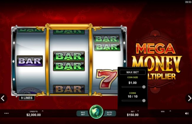 Dragonara featuring the Video Slots Mega Money Multiplier with a maximum payout of $100,000
