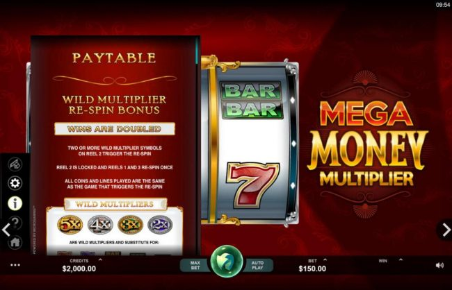 Roxy Palace featuring the Video Slots Mega Money Multiplier with a maximum payout of $100,000