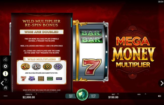Cinema featuring the Video Slots Mega Money Multiplier with a maximum payout of $100,000
