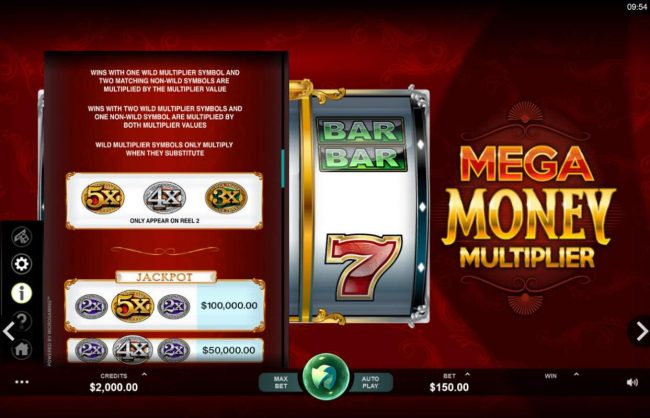 Mega Casino featuring the Video Slots Mega Money Multiplier with a maximum payout of $100,000