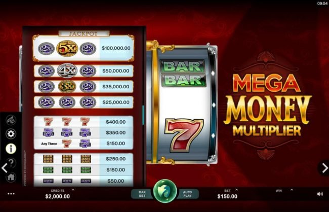 Nostalgia Casino featuring the Video Slots Mega Money Multiplier with a maximum payout of $100,000