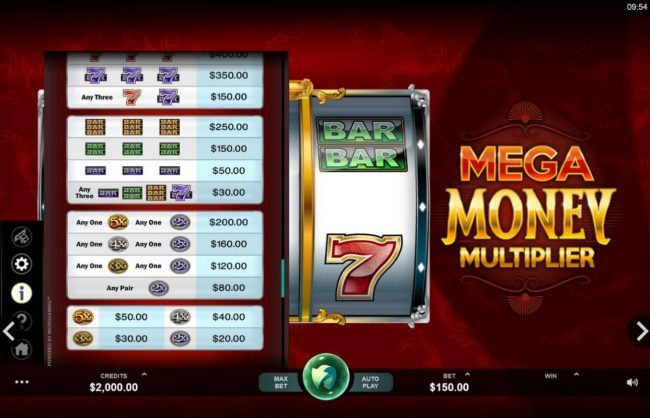 Wixstars featuring the Video Slots Mega Money Multiplier with a maximum payout of $100,000