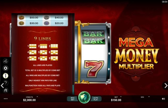 Sun Play featuring the Video Slots Mega Money Multiplier with a maximum payout of $100,000
