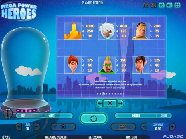 ReelTastic featuring the Video Slots Mega Power Heroes with a maximum payout of $200,000