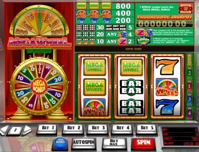 King Billy featuring the Video Slots Mega Wheel Bonus with a maximum payout of Jackpot