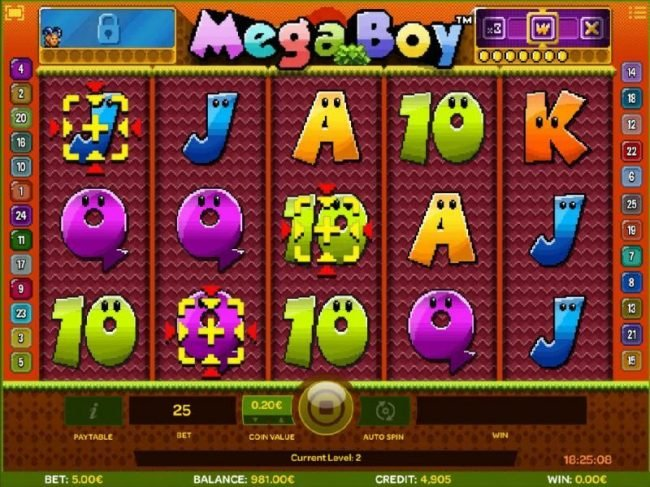 Betchan featuring the Video Slots Mega Boy with a maximum payout of $30,000