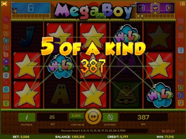 Cbet featuring the Video Slots Mega Boy with a maximum payout of $30,000