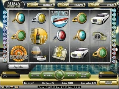 Vegas Baby featuring the Video Slots Mega Fortune with a maximum payout of $20,000
