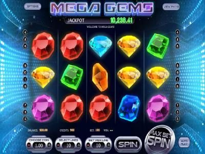 Mega Gems :: Main game board featuring five reels and 10 paylines with a progressive jackpot
