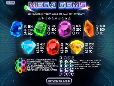 Mega Gems :: Slot game symbols paytable and payline diagrams