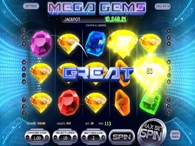 Mega Gems :: Five of a kind leads to a big win.
