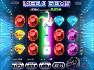 Mega Gems :: Expanding wild triggers multiple winning paylines for a big win!