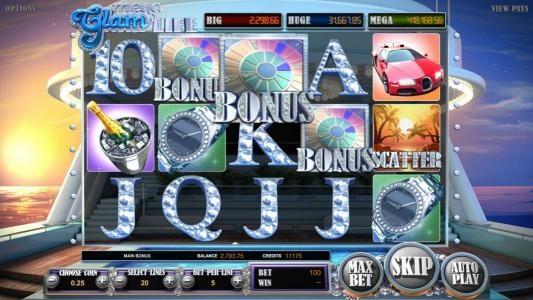 Three bonus symbols triggers money wheel