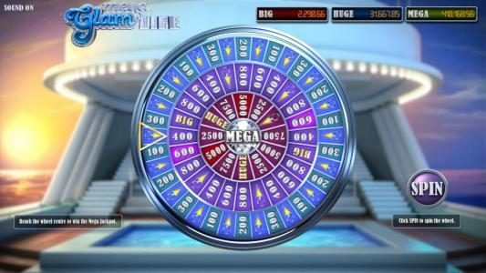 Euro Fortune featuring the Video Slots Mega Glam Life with a maximum payout of Jackpot