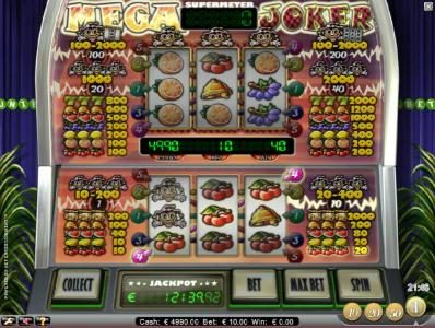 Mega Joker :: three of kind triggers a 40 coin jackpot