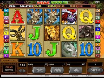 Monaco Aces featuring the Video Slots Mega Moolah 5 Reel Drive with a maximum payout of $1,000,000