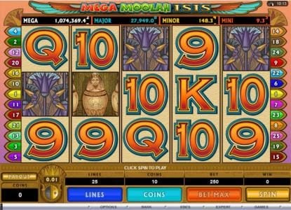 Play slots at Platinum Play: Platinum Play featuring the Video Slots Mega Moolah Isis with a maximum payout of $10,000