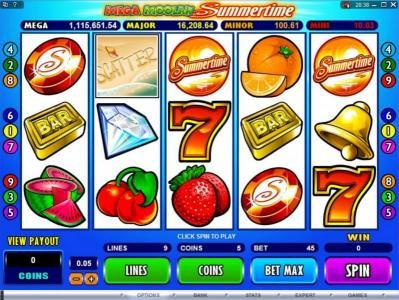 Platinum Play featuring the Video Slots Mega Moolah Summertime with a maximum payout of $2,000