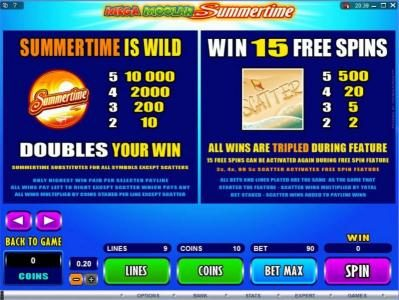 Wintingo featuring the Video Slots Mega Moolah Summertime with a maximum payout of $2,000