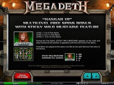 Hangar 18 - Multilevel free spins bonus with sticky wild mustaine feature