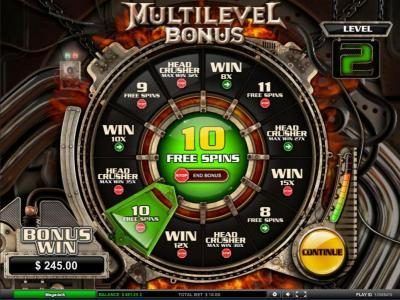 10 free spins for the level 2 bonus game