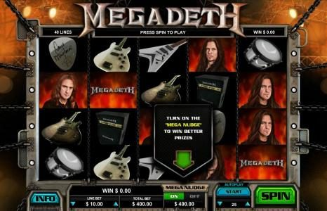 First Web featuring the Video Slots Megadeth with a maximum payout of $5,000
