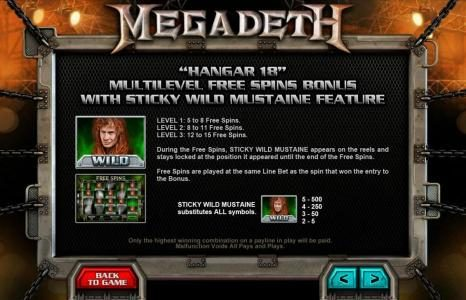 Casino 440 featuring the Video Slots Megadeth with a maximum payout of $5,000