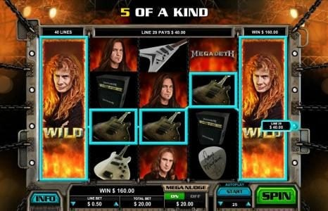 Colosseum featuring the Video Slots Megadeth with a maximum payout of $5,000
