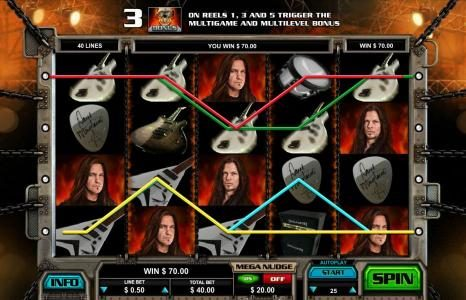 Spin Palace featuring the Video Slots Megadeth with a maximum payout of $5,000