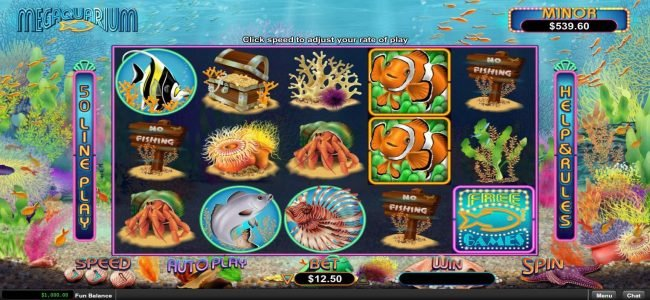 Cherry Jackpot featuring the Video Slots Megaquarium with a maximum payout of $12,500
