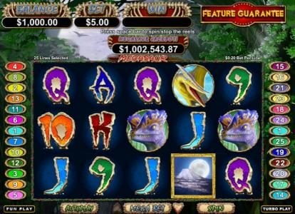 Play slots at Mega 7's: Mega 7's featuring the Video Slots Megasaur with a maximum payout of $250,000