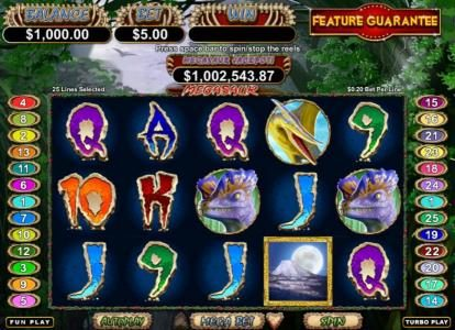 Ruby Slots featuring the Video Slots Megasaur with a maximum payout of $250,000