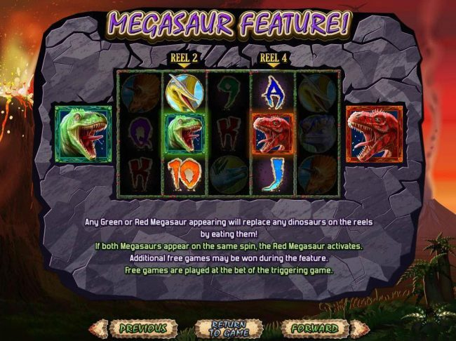 ReelSpin featuring the Video Slots Megasaur with a maximum payout of $250,000