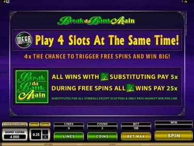 Spinrider featuring the Video Slots MegaSpin - Break Da Bank Again with a maximum payout of $22,500