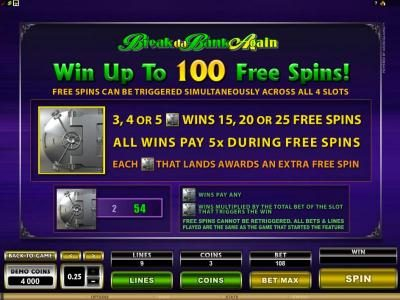 Vegas Palms featuring the Video Slots MegaSpin - Break Da Bank Again with a maximum payout of $22,500