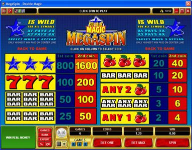 Queen Vegas featuring the Video Slots MegaSpin - Double Magic with a maximum payout of $8,000