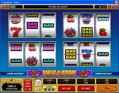 HippoZino featuring the Video Slots MegaSpin - High 5 with a maximum payout of $75,000