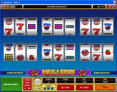 Casino Action featuring the Video Slots MegaSpin - High 5 with a maximum payout of $75,000