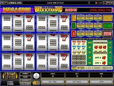 Play slots at 10Bet: 10Bet featuring the Video Slots MegaSpin - Major Millions 3-Reel with a maximum payout of $50,000
