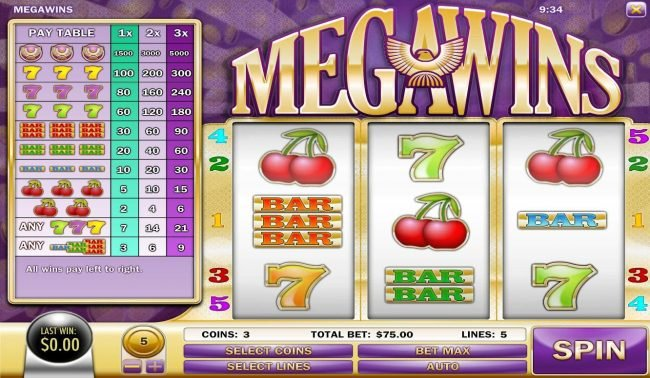 Vegas Aces featuring the Video Slots Megawins with a maximum payout of $75,000