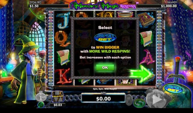 TS featuring the Video Slots Merlin's Magic Respins with a maximum payout of $5,000