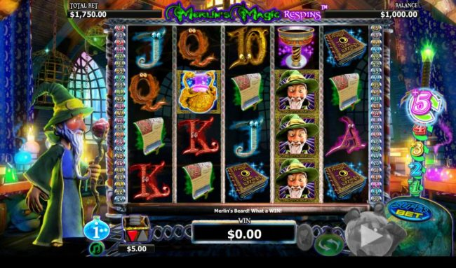 888 Casino featuring the Video Slots Merlin's Magic Respins with a maximum payout of $5,000