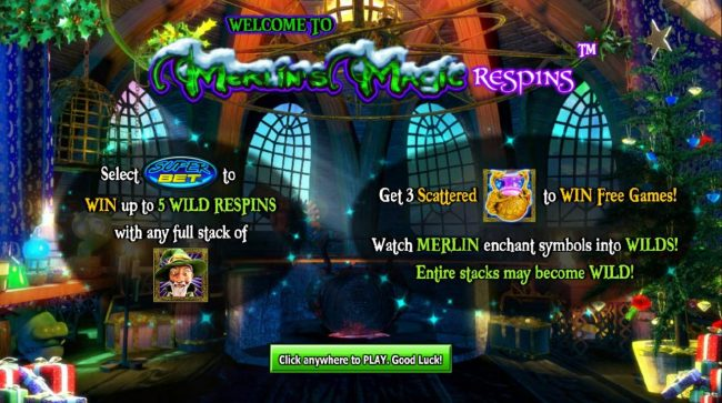 Play slots at King Billy: King Billy featuring the Video Slots Merlin's Magic Respins Christmas with a maximum payout of $10,000