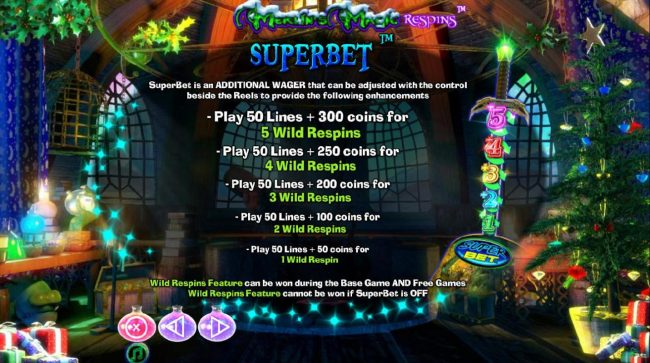 Sin Spins featuring the Video Slots Merlin's Magic Respins Christmas with a maximum payout of $10,000