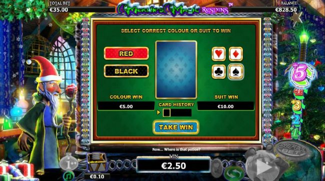 Enzo Casino featuring the Video Slots Merlin's Magic Respins Christmas with a maximum payout of $10,000